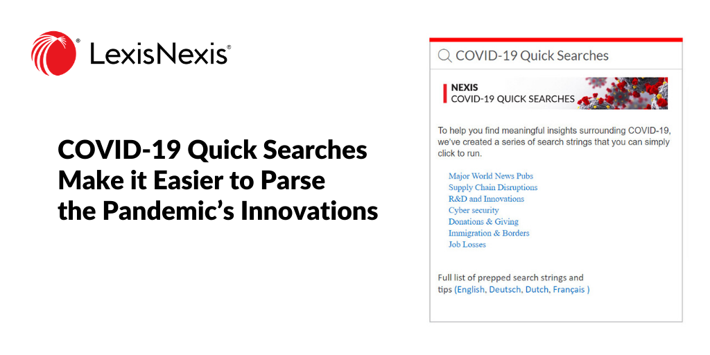 Speed and Accessibility: COVID-19 Quick Searches Make it Easier to Parse the Pandemic's Innovations
