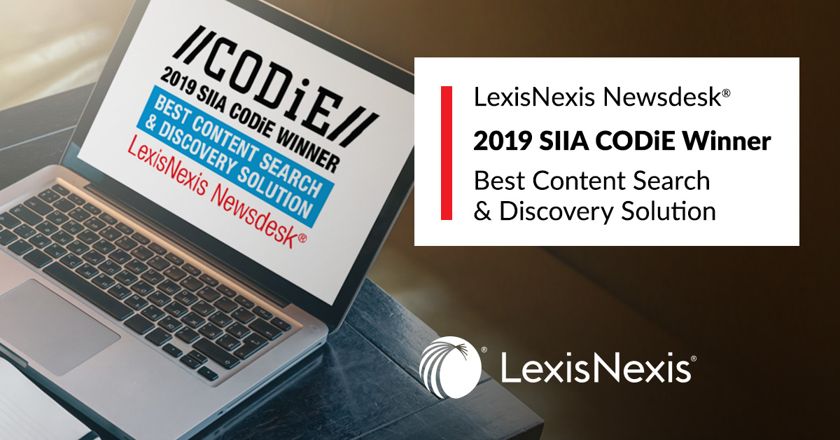 LexisNexis® wins Best Content Search & Discovery Solution SIIA Business Technology CODiE Award
