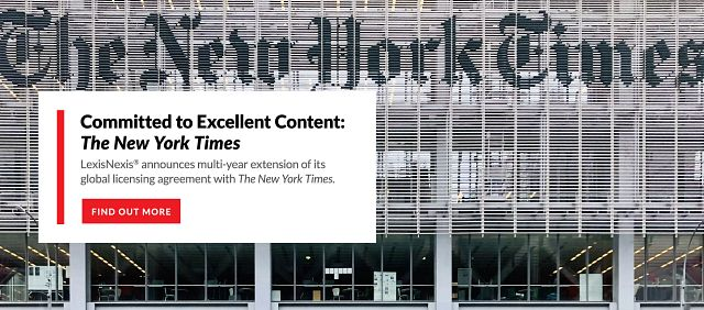 Source Spotlight: The New York Times Continues Multi-Year Agreement with LexisNexis